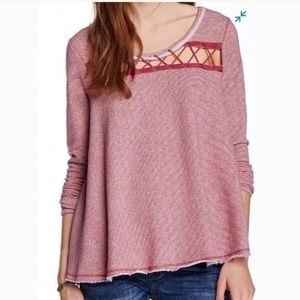Free People Lacey Love French Terry Swing Top L